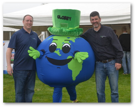 Berks Nature's Globey visits the Berks County Earth Day Celebration. Pictured with Globey are BCCD's Treasurer and Board of Director Brian Boyer (left) and BCCD's District Executive Dean Druckenmiller (right). Photo used with permission from BCCD.