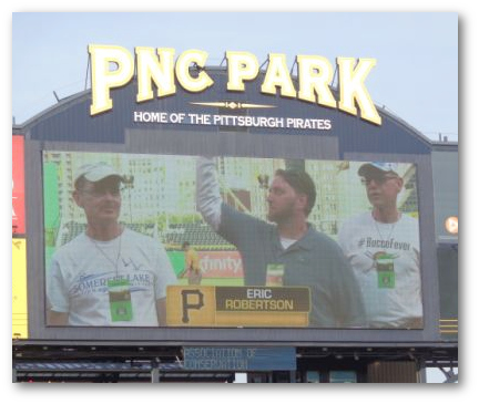 PACD Conservation Engineer Eric Robertson, P.E. (along with other staff from the Somerset Office) was honored by the PA Fish and Boat Commission before a Pittsburgh Pirate game on May 25, 2016. He is pictured on the Jumbotron at PNC Park, Pittsburgh, PA. The award was given to the Somerset staff for their acid mine drainage and stream restoration projects.