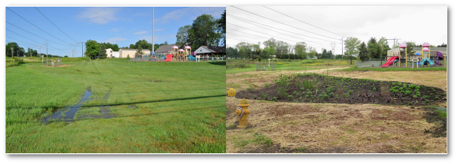 "The ""before"" photo on the left shows the issue of standing water. The ""after"" photo on the right shows the Perkiomen demonstration rain garden after installation. Left photo taken by Bob Kahley, Aqua PA. Right photo taken by Virginia Vassalotti, Partnership for the Delaware Estuary. Photos provided by the Montgomery County Conservation District."