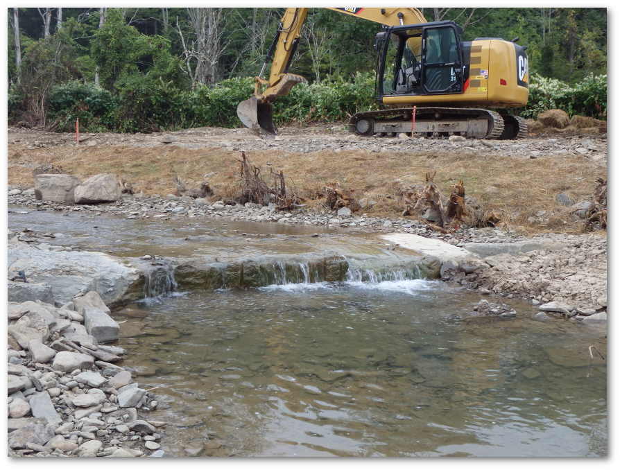 A cross vane and root wads used for stream bank protection are pictured. Photo provided by Susquehanna County Conservation District.