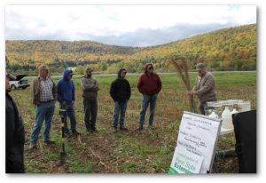Tim Elder from NRCS provided farmers information about soil health and warm season grasses for forage. Photo provided by McKean County Conservation District.
